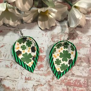 """Faux Leather Earrings St. Patrick's Day Green 2"""""""